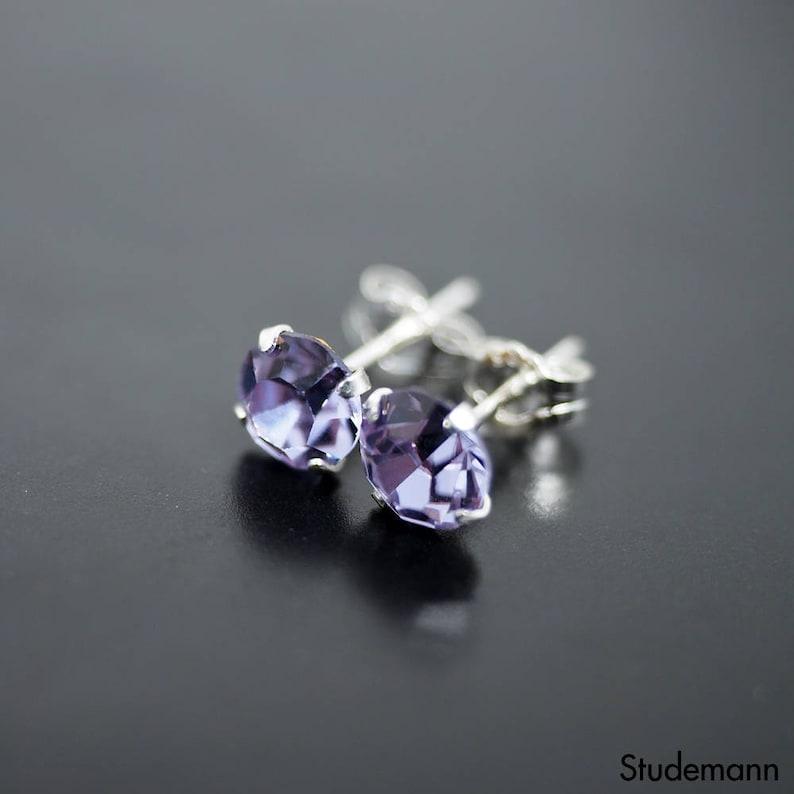 5d3e49af7 Alexandrite Purple Swarovski Crystal Sterling Silver Earrings | Etsy