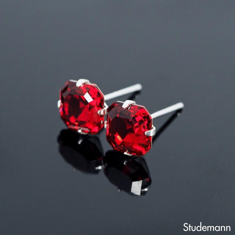 bf4c1982d Scarlet Red Imperial Swarovski Crystal Ear Stud Earrings 925   Etsy