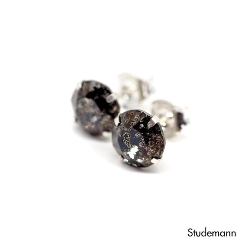 57c5b39ba Black Meteorite Swarovski Crystal Stud Earrings 925 Sterling   Etsy