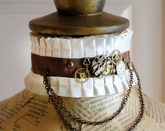 Steampunk Choker with Vintage Watch Movement,Neo Victorian Brown & Ivory Choker,Steampunk Bridal Choker Necklace-Ready to Ship
