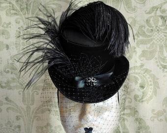 8bbcef37f2116 Burlesque Ladies Top Hat with Veil