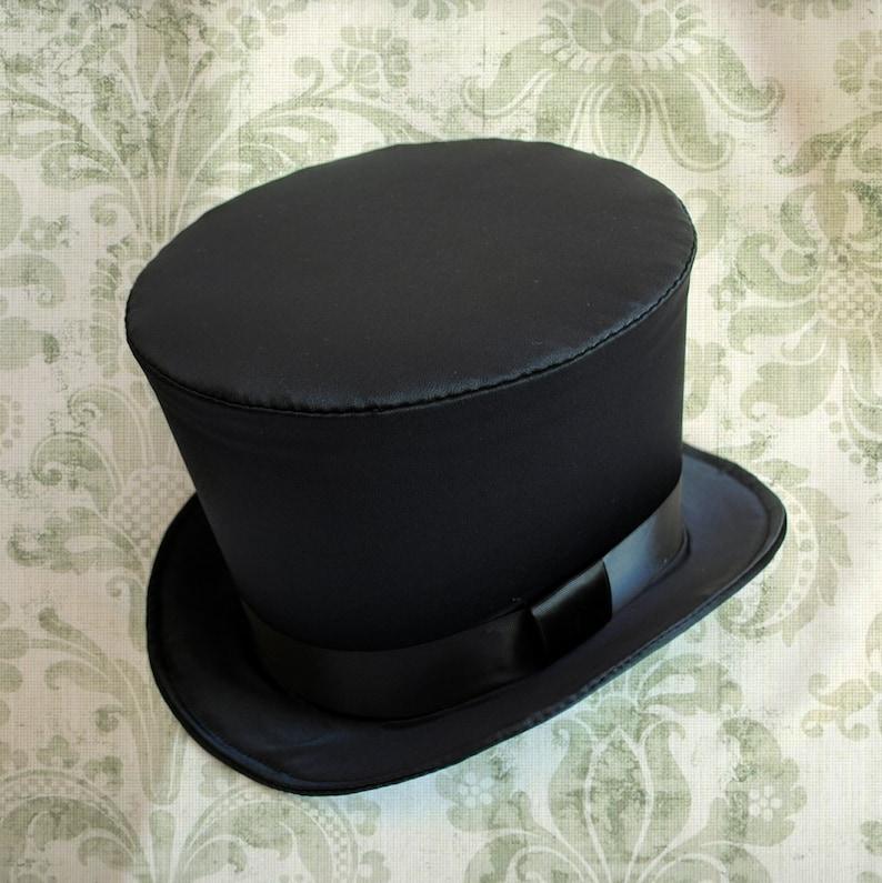 fc6b43a9384 Black Satin Victorian Top HatFull Size Top HatGothic Top