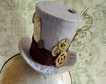 Steampunk Mad Hatter Mini Top Hat,Alice in Wonderland Cosplay Mini Hat,Halloween Costume Fascinator,Tea-party Cake Topper-Ready to Ship