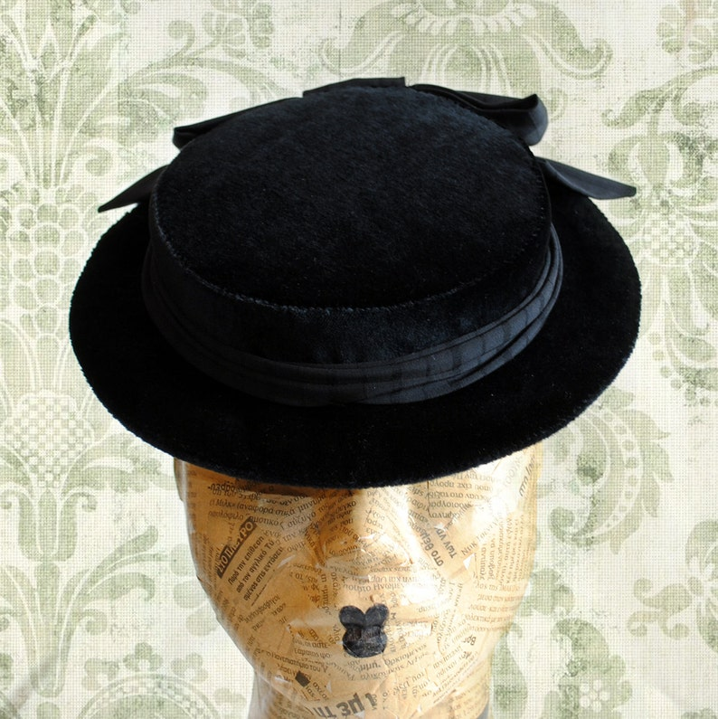 9ff8dfaab Gothic Lolita Mini HatBlack Victorian HatBoater Hat with Black Velvet ...
