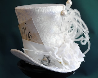 Bridal Mad Hatter Mini Top Hat,Alice in Wonderland Fascinator Hat,Victorian Tea-Party White Mini Top Hat-Custom-Made to Order