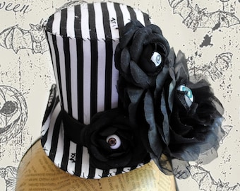 Zombie Mini Top Hat,Tim Burton Striped Fascinator,Black & White Mini Hat,Zombie Cake Topper,Creepy Doll Eyes Halloween Costume-Ready to Ship
