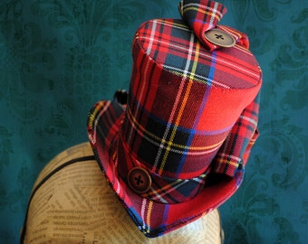 Gothic Lolita Mini Top Hat,Red Plaid Fascinator,Lolita Cosplay Hat,Victorian Mini Top Hats,Scottish Plaid,Christmas Caroling-Ready to Ship
