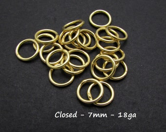 10 Pcs, 7mm, 18ga, 24k Gold Vermeil Closed Jump Ring