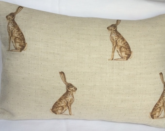 Cushion Cover in Mr Hare in Stone   Peony & Sage linen fabric