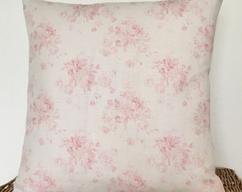 Cushion Cover  in Peony & Sage  MILLIE in Powder Pink  16""