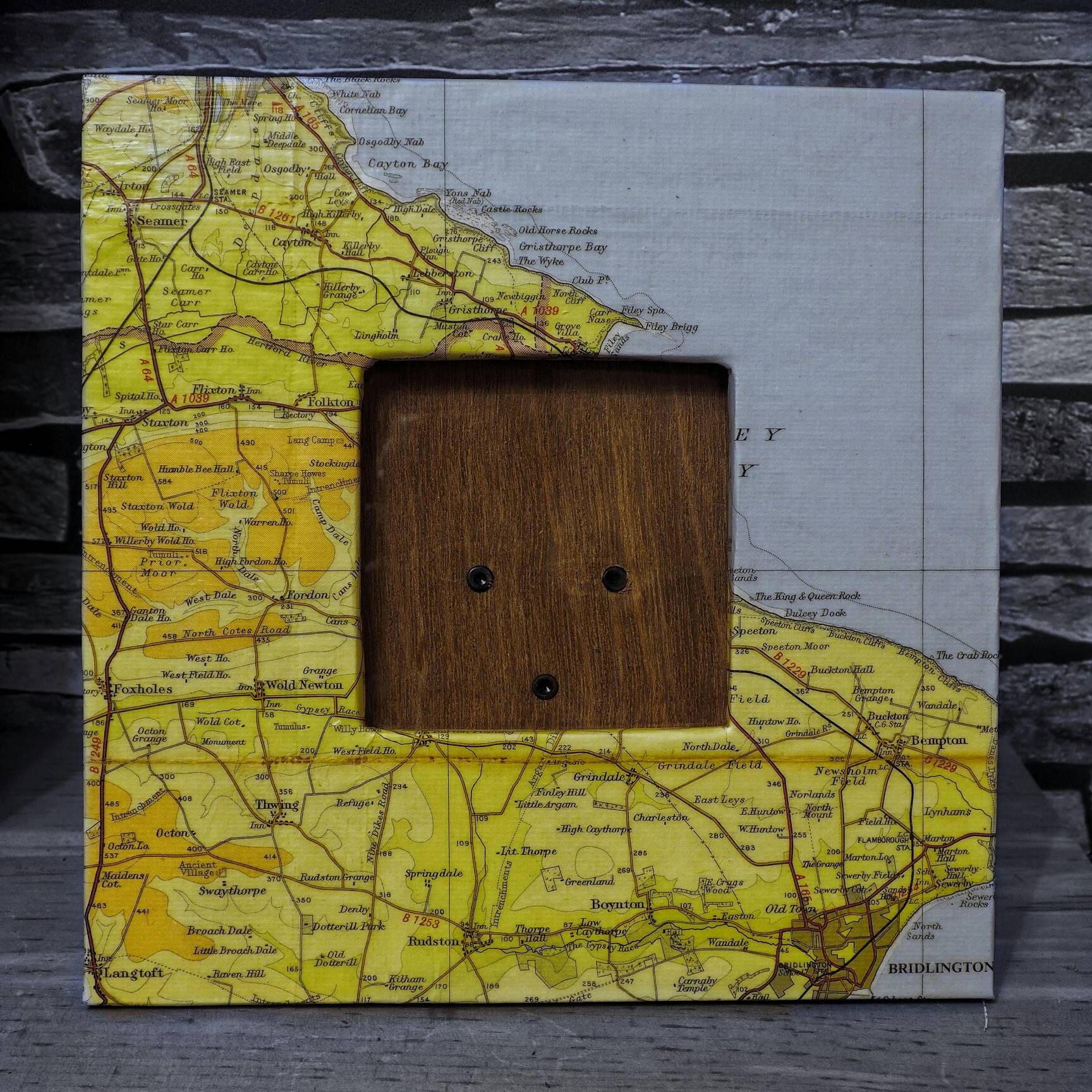 Upcycled map picture frame UK North Yorkshire Coast | Etsy