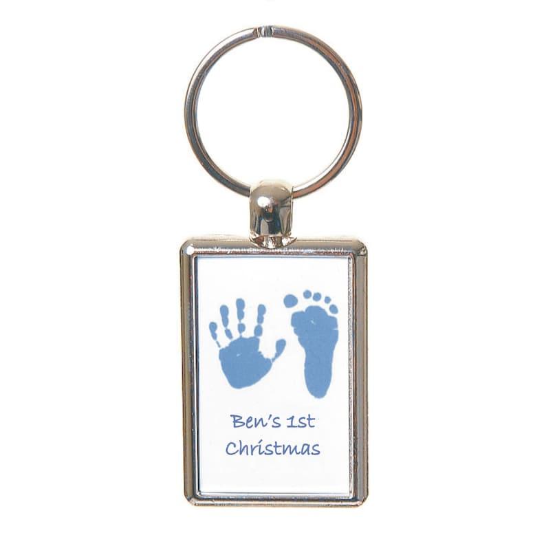 Print Taking Kit Supplied Set of 2 Coloured Hand and Foot Print Keyrings Baby/'s First Christmas Handprint Keepsake Baby Footprint