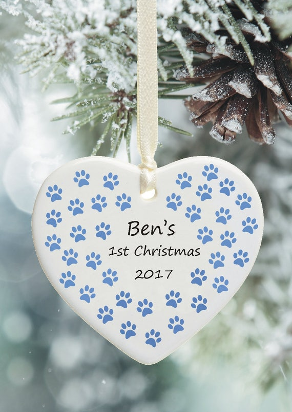 Ceramic Christmas Tree Decorations.Dog Cat S First Christmas Personalised Ceramic Xmas Tree Decoration Personalised With Pet S Name 1st Christmas Keepsake