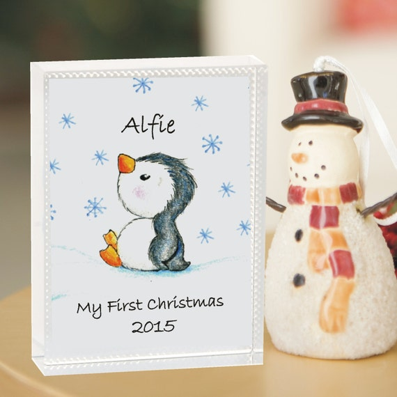 Personalised Sentimental Baby/'s First Christmas Penguin Glass Decoration Gift