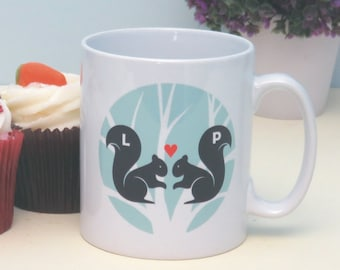 Squirrels in Love Personalised Mug -  Unique Gift for a Wedding, Anniversary, Birthday or Valentine's Day