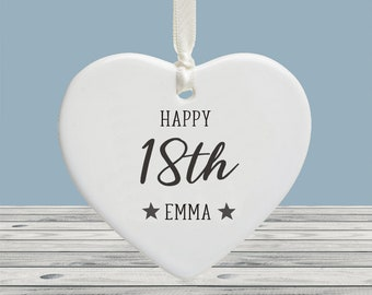 Personalised Milestone 18th Birthday Ceramic Ornament Decoration Keepsake - Gift Tag Personalised with your own text on the reverse