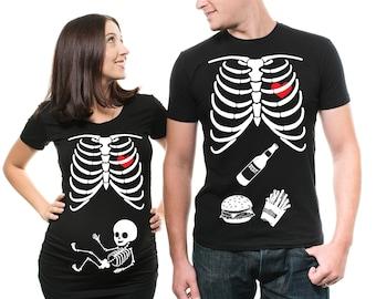7ca2457682bae Halloween Couple Maternity T-shirt Maternity Halloween Costume Pregnancy  Halloween Maternity Shirts