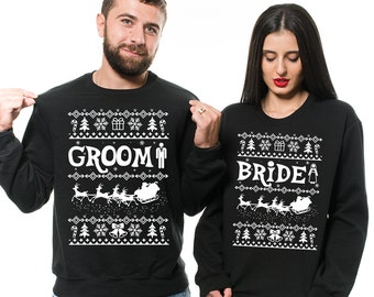 a867b5991 Christmas Wedding, Groom Bride Sweater, Ugly Christmas Sweaters, Matching  Shirts For Couples, Couples Sweaters, Wedding Gifts