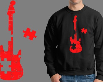 Guitar Puzzle Music Jersey Fleece Sweatshirt Sweater