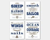 Set of 4 Nautical prints Quotes bundle. Instant download PDF printable. A ship is safe in harbor. A smooth sea never made a skillful sailor