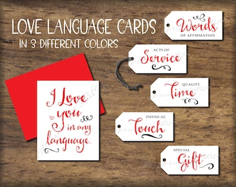 Five Language Of Love Gift Tags Card Instant Download Printable 5 DIY Christmas For Him Her Husband Wife Valentines Birthday
