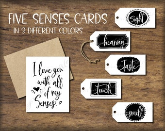 Five Senses Gift Tags Card Instant Download Printable Diy Etsy