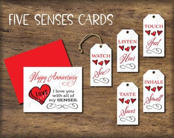 Five Senses Gift Tags Card Instant Download Printable Mens Etsy