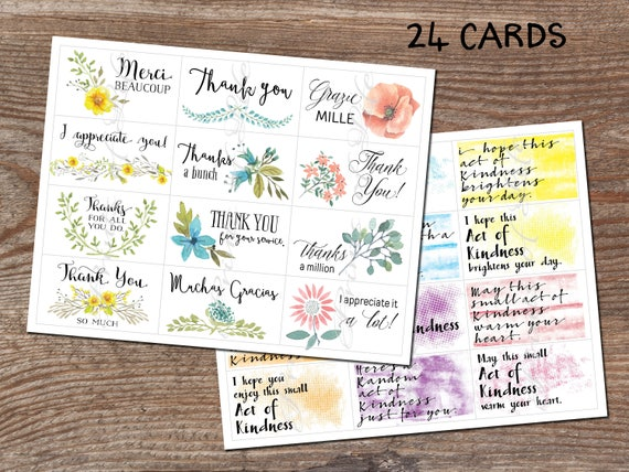 image about Random Acts of Kindness Cards Printable called Thank yourself notes. Random Functions of Kindness. Lunch box playing cards. Instantaneous obtain printable PDF. 24 office environment card sizing. Fork out it in advance. Reward.
