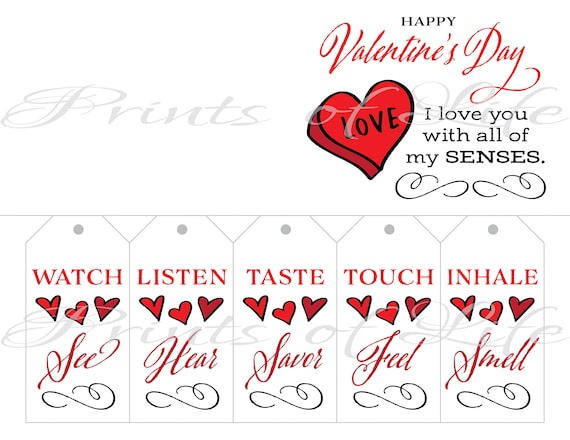 Instant download printable 5 senses Birthday Valentine/'s love. DIY Christmas gift for him her husband wife Five Senses Gift Tags /& Card