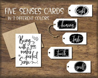 Five Senses Gift Tags & Card. Instant download printable. DIY Christmas gift for him her husband wife. Valentine's love. Birthday. 5 senses.