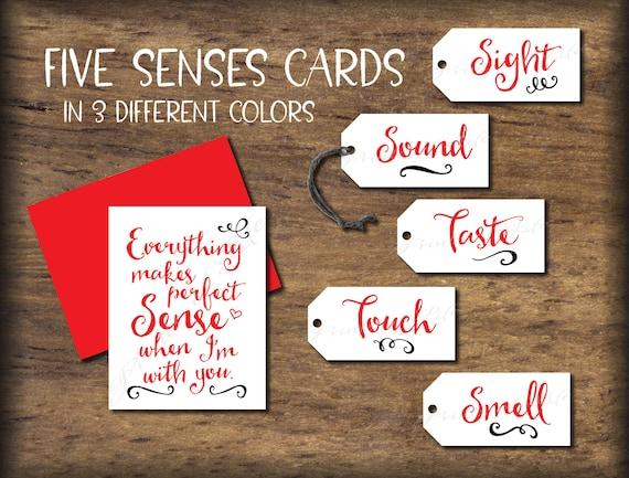 Five Senses Gift Tags Card 5 Senses Instant Download Etsy