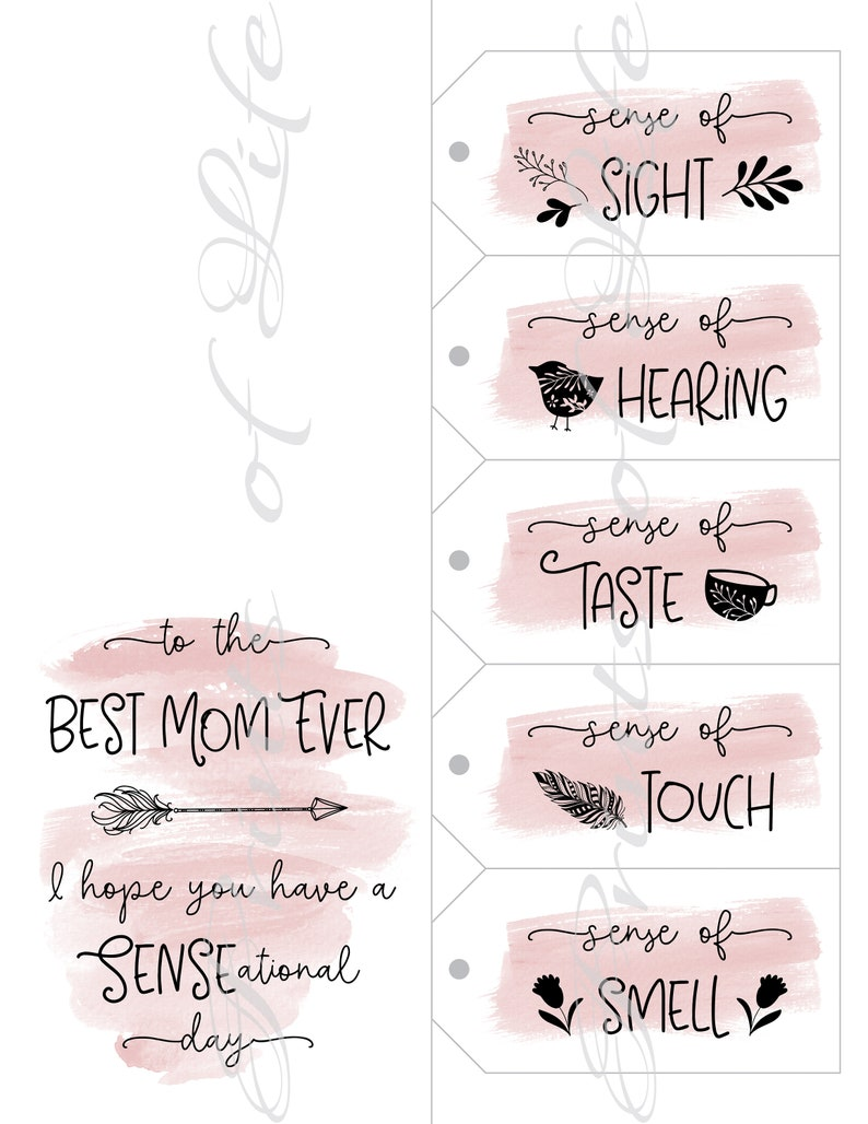 Instant download printable 5 Senses Gift Tags /& Card for Mom Mother/'s Day Five senses for her Christmas Birthday Best Mom Ever.