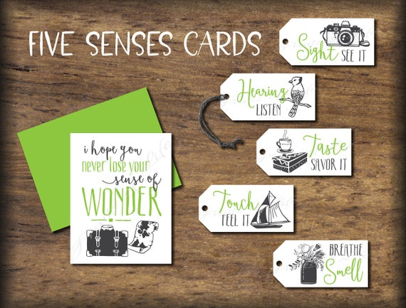 Five Senses Gift Tags & Card. Instant download printable. 5   Etsy