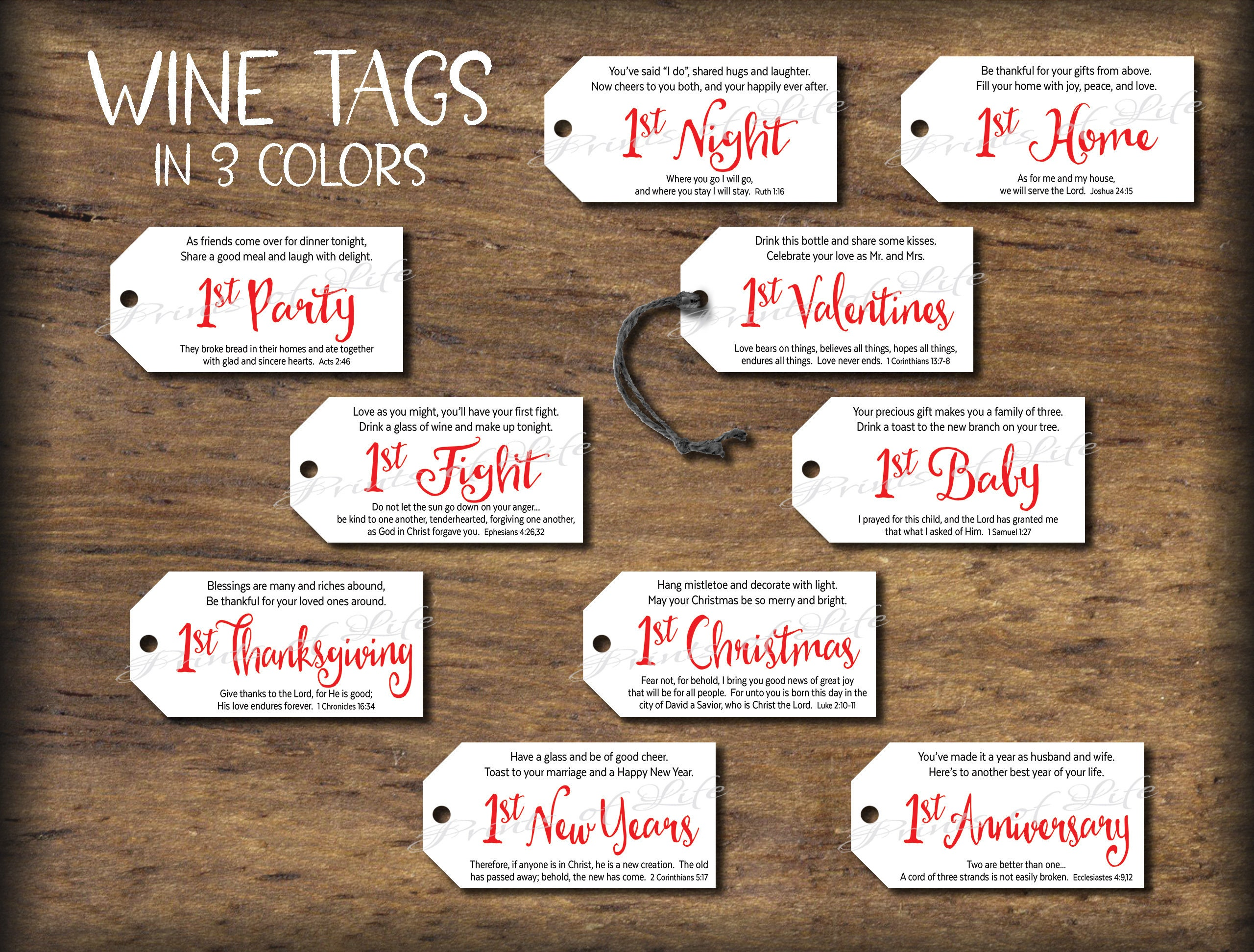 Wedding Firsts wine gift tags  Instant download printable  Marriage  Milestones Gift for bride groom couple  Bridal shower cards Bible verse
