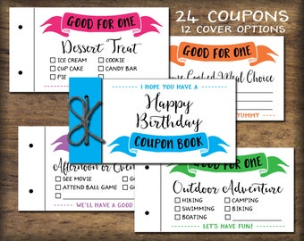Kids Coupon Book. Printable gift idea. Instant download. DIY PDF print. Birthday coupons Easter coupon book vouchers. Child, friend, spouse.