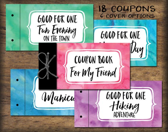 friend bff coupon book printable instant download gift idea etsy