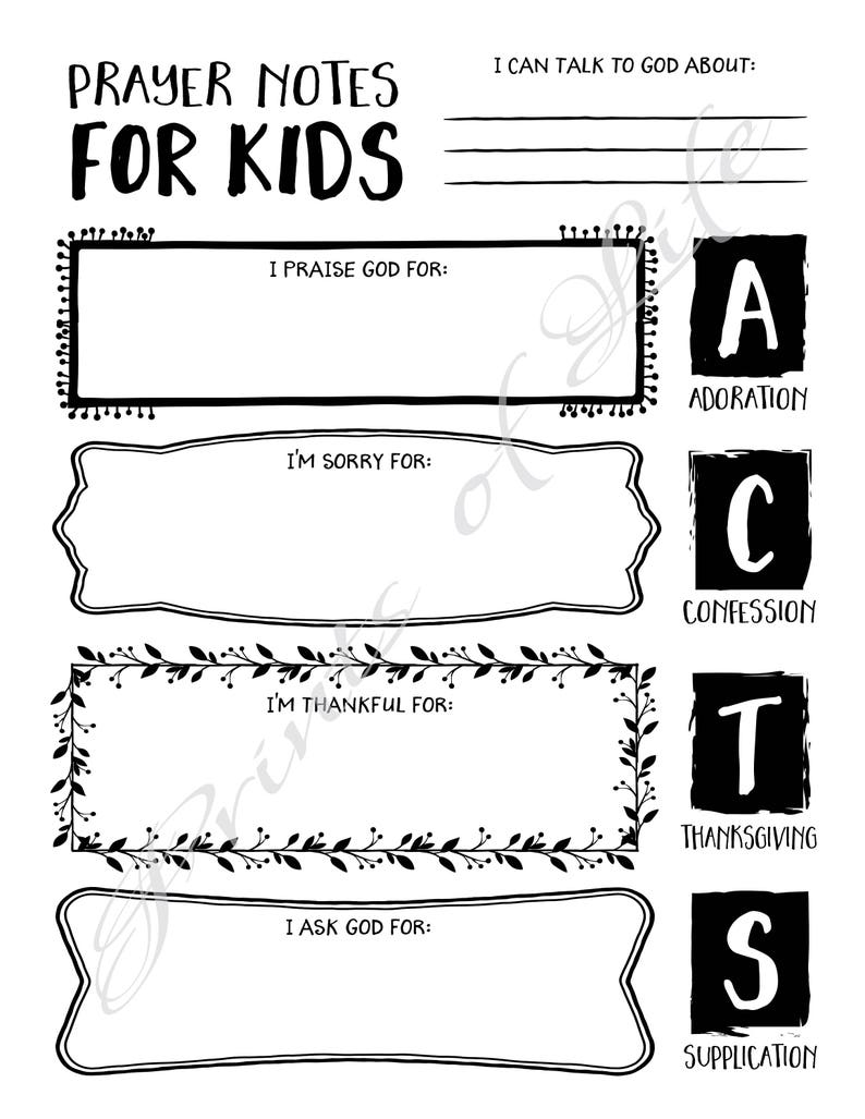 photo regarding Acts Prayer Printable identify Prayer Notes for Small children. PDF printable. Instantaneous obtain. Boys, ladies, youth, adolescents. Worksheet magazine. Bible research advisor planner. Pray Functions.