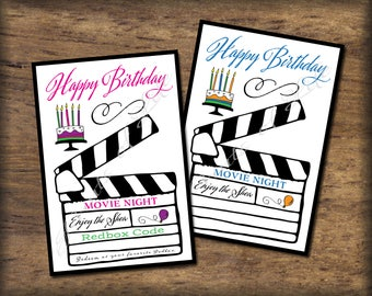 Printable Redbox code gift card. Happy Birthday. Instant download digital PDF print. Movie night coupon. Son, daughter, friend, co-worker.