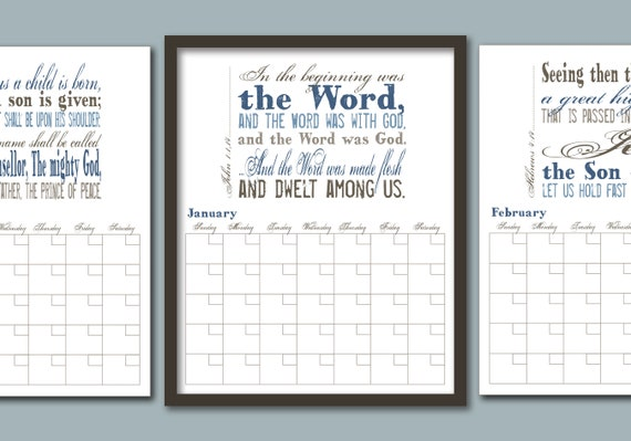 monthly calendar names of jesus with scripture bible etsy
