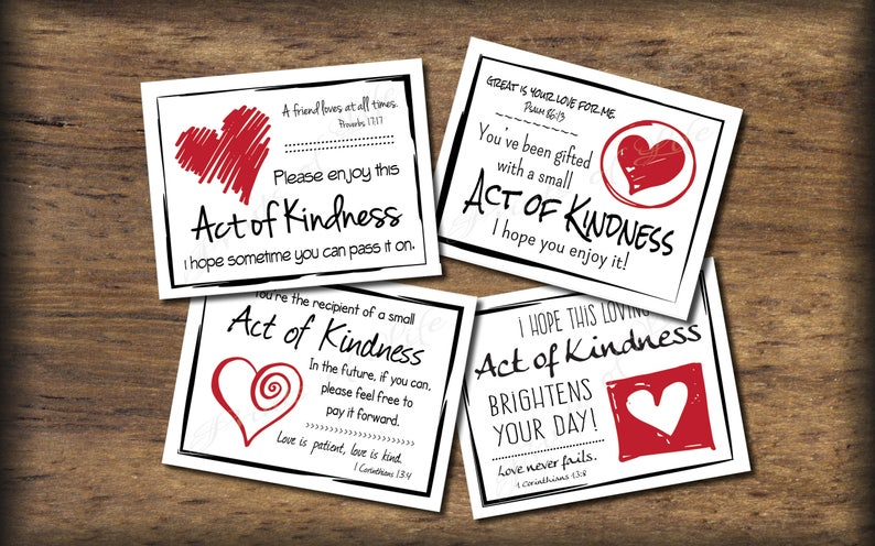 graphic relating to Random Acts of Kindness Cards Printable named Enjoy Random Act of Kindness playing cards. Fast obtain. Pdf printable. Do it yourself electronic print. Fork out it ahead. Low functions. Reward with Bible verses.