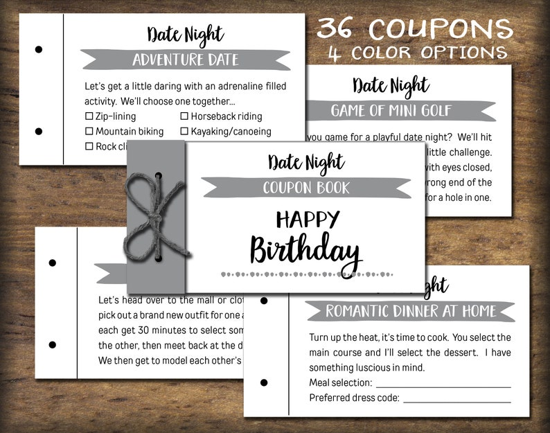 Birthday Date Night Coupon Book Instant Download Printable