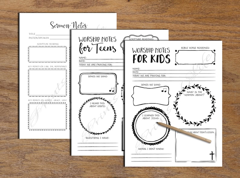 Church License  Sermon Notes  Worship Notes for Kids, for Teens  Printable  Instant download  Boys, girls, adult Journal Bible study planner