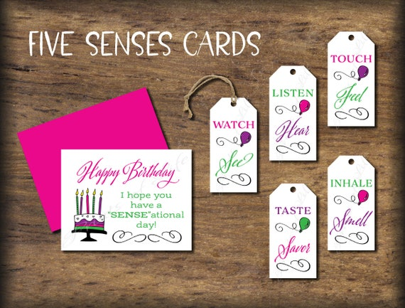 Five Senses Gift Tags Birthday Card Instant Download Etsy
