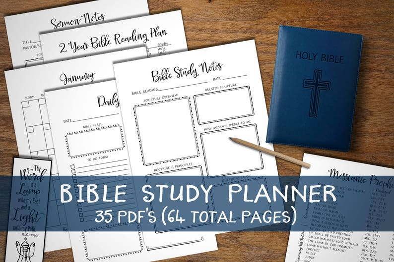 Bible Study Planner  Instant download printable  Sermon Notes  Prayer  Journal  Christian Devotional Bundle  Organizer note book  Calendar