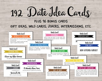 192 Date Night Idea cards. Instant download printable. Fun Romantic. Love coupon book. Date box jar Wedding. Valentines day gift for him.