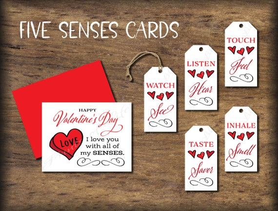 Five Senses Gift Tags Valentines Day Card Instant Download Etsy