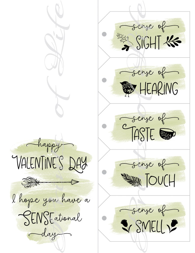 Valentines Day Christmas 5 Senses Gift Tags /& Card Instant download printable Five Senses for him child son parent friend husband spouse