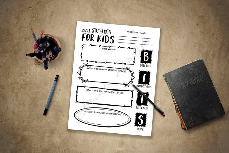 Bible Study Notes for Kids  BITS  Boys, girls, youth, teens  Instant  download printable  Worksheet journal guide planner log  Scripture