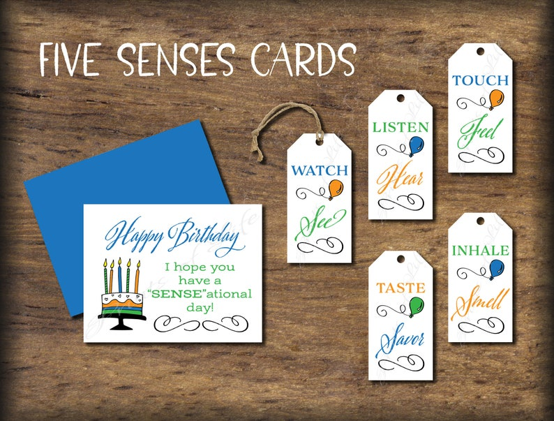 Five Senses Gift Tags Birthday Card Instant Download