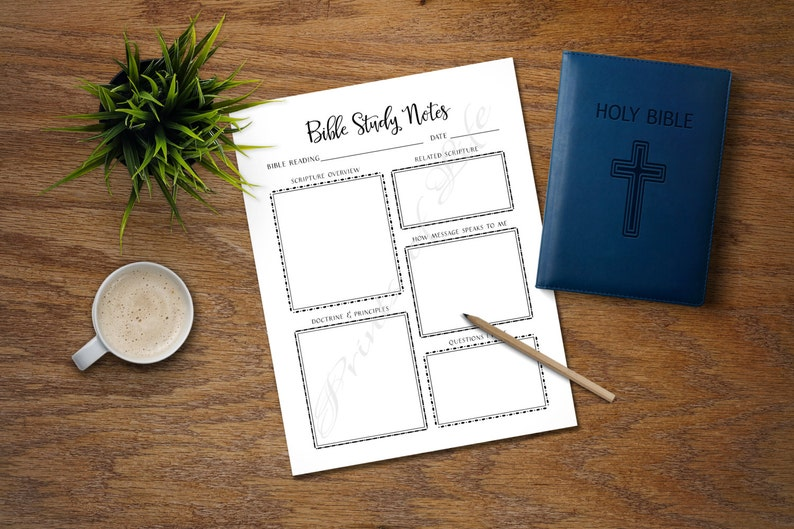 Bible Study Notes  PDF printable  Instant download  Church journal   Scripture planner  Worksheet  Lesson  Notebook  Bible verse  Reading